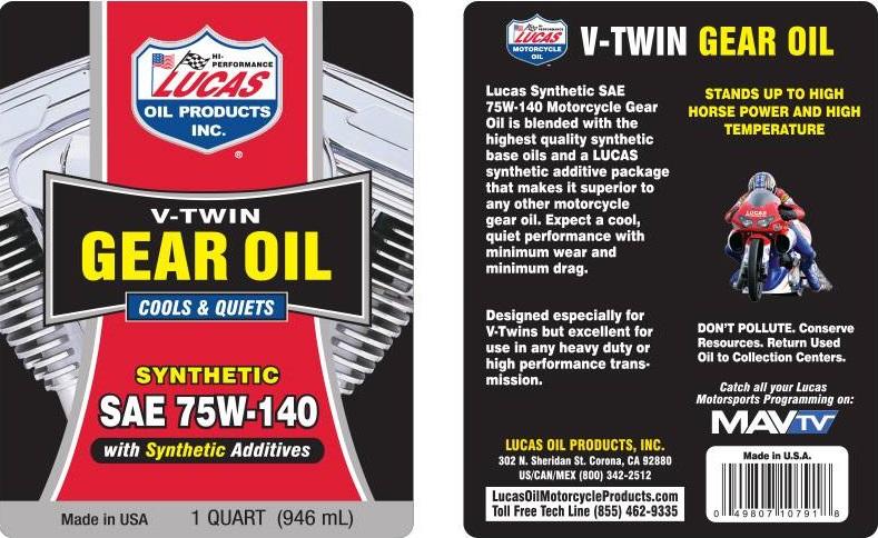 Olio Cambio V-Twin 75W 140 Sintetico Lucas Oil Lubrificanti